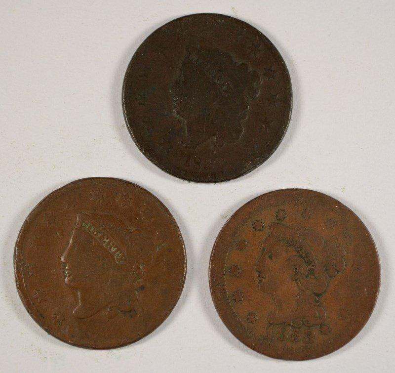 3 LARGE CENTS 1832, 33, 53