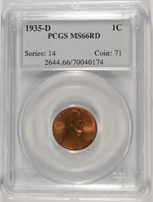 1935-D LINCOLN CENT, PCGS MS-66 RED