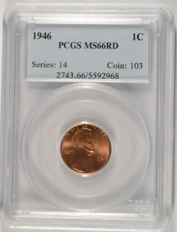 1946 LINCOLN CENT, PCGS MS-66 RED