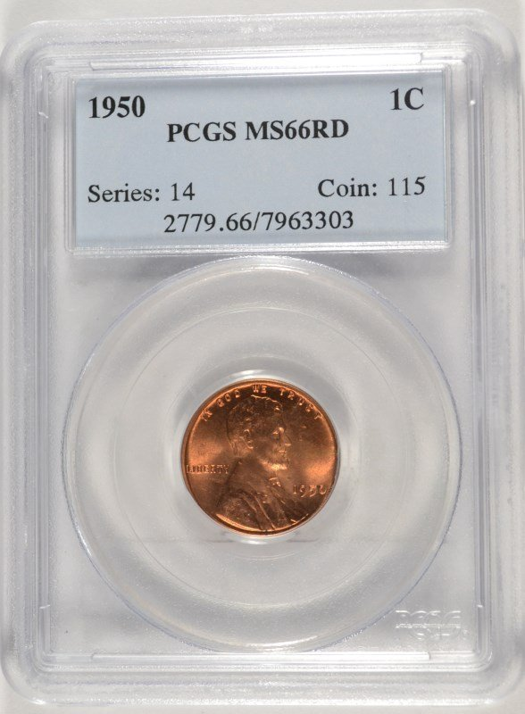 1950 LINCOLN CENT, PCGS MS-66 RED   TOUGH!