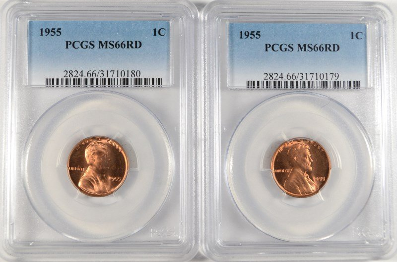 ( 2 ) 1955 LINCOLN CENTS, PCGS MS-66 RED  CHERRY!