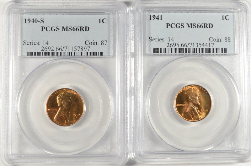 LOT OF ( 2 ) LINCOLN CENTS, PCGS MS-66 RED: 1940-S &