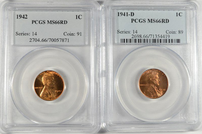 LOT OF ( 2 ) LINCOLN CENTS, PCGS MS-66 RED: 1941-D &