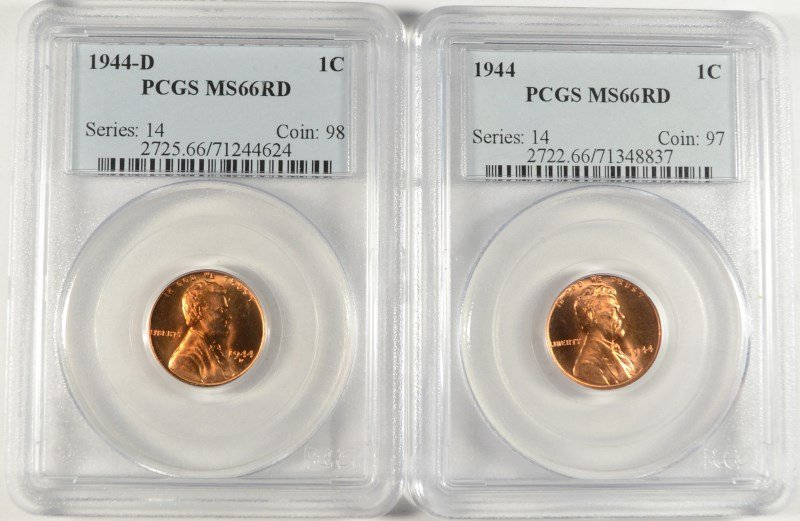 1944 P&D LINCOLN CENTS, PCGS MS-66 RED
