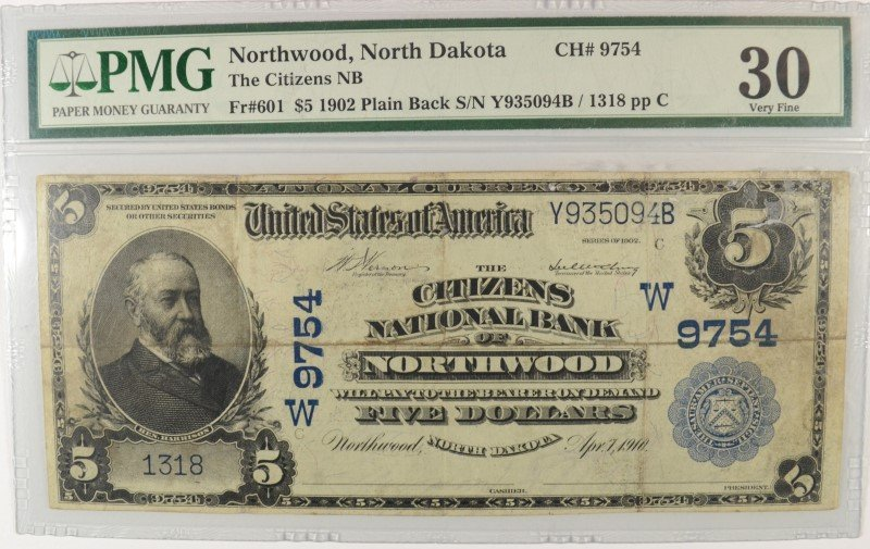 1902 $5 NATIONAL (NORTHWOOD, ND) ONLY 2 KNOWN !!!! (PMG