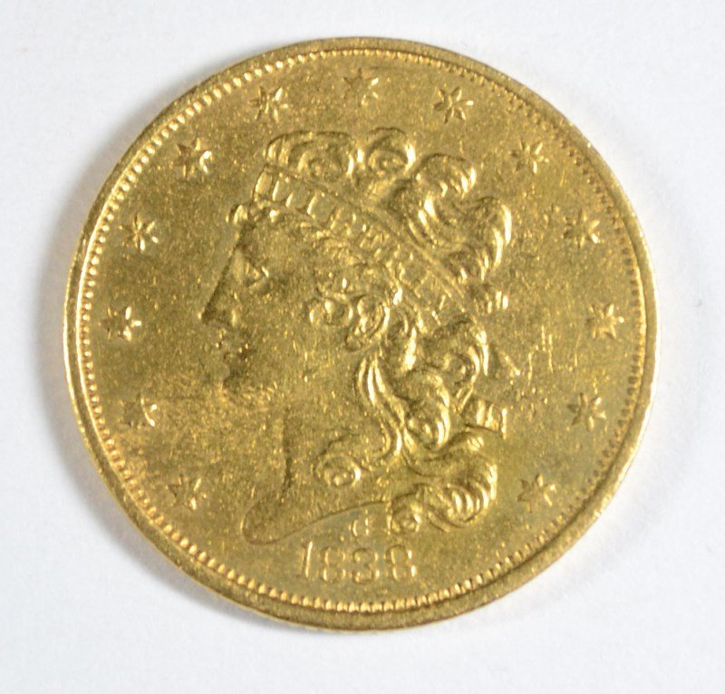 1838-C $5.00 GOLD AU-55+ ULTRA RARE! TRY TO FIND