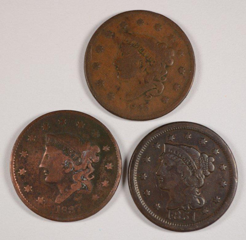 3 LARGE CENTS 1835, 37, 51