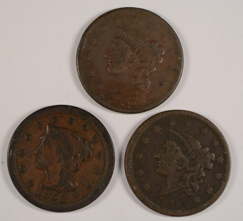3 LARGE CENTS 1837, 38, 53