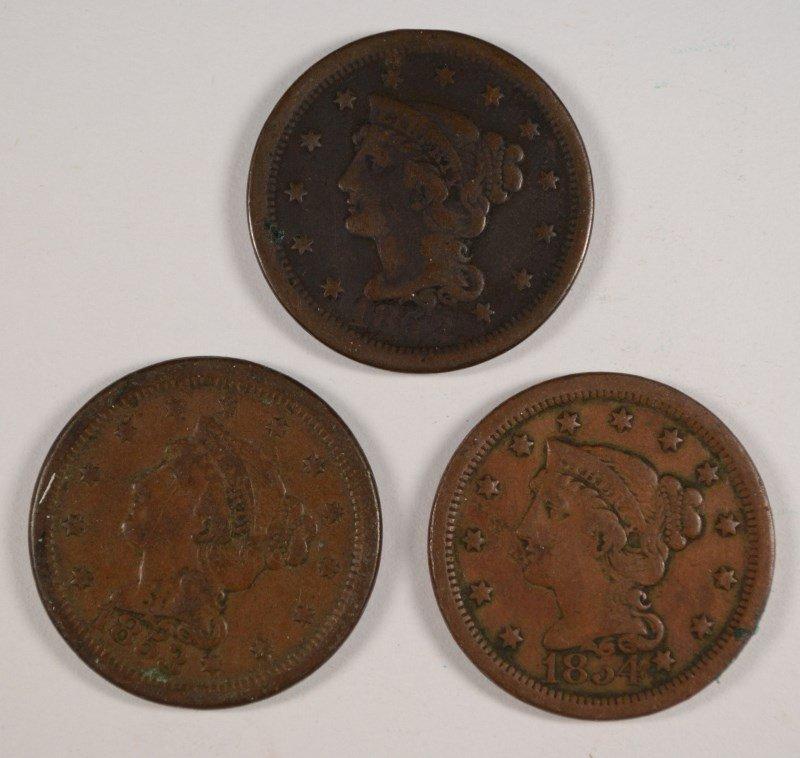 3 LARGE CENTS 1852, 53, 54