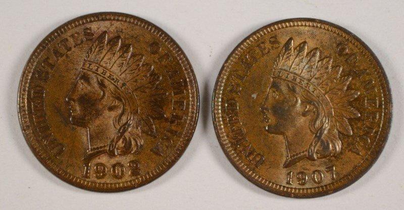 2 INDIAN CENTS 1902, 07 AU/BU