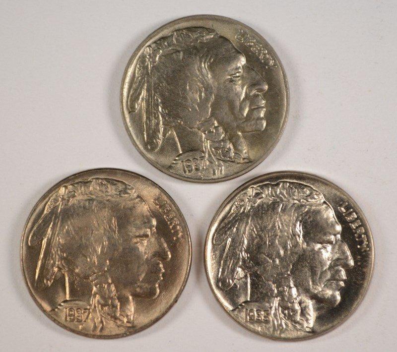 3 BUFFALO NICKELS CHOICE TO GEM BU 1935, 37-P,D