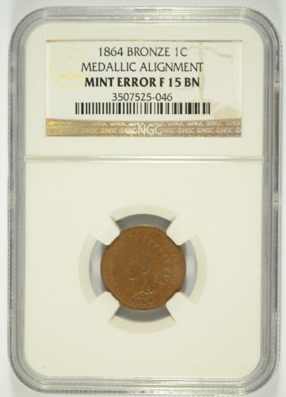 1864 BRONZE INDIAN HEAD CENT NGC MINT ERROR, MEDALLIC
