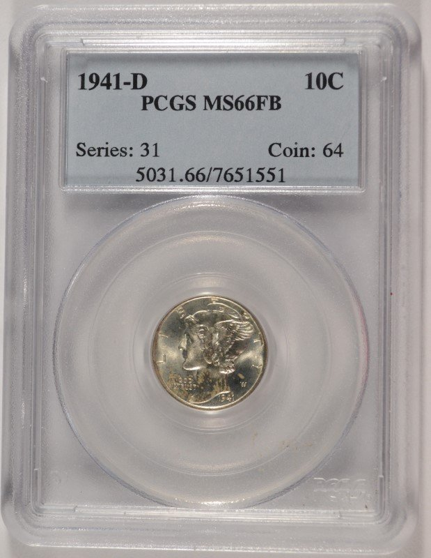 1941 D Mercury Dime PCGS MS66FB Nice