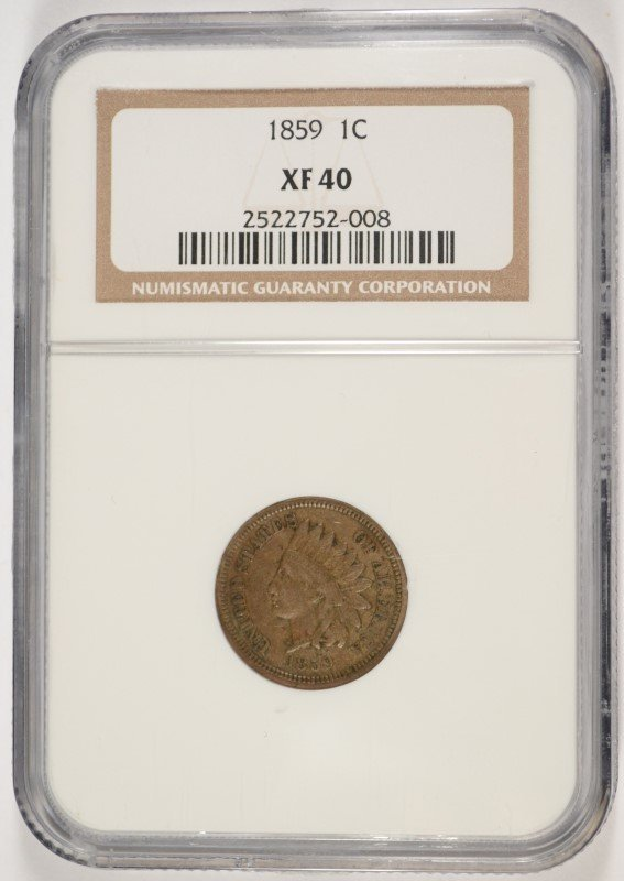 1859 INDIAN HEAD CENT, NGC XF-40 NICE ORIGINAL COIN!