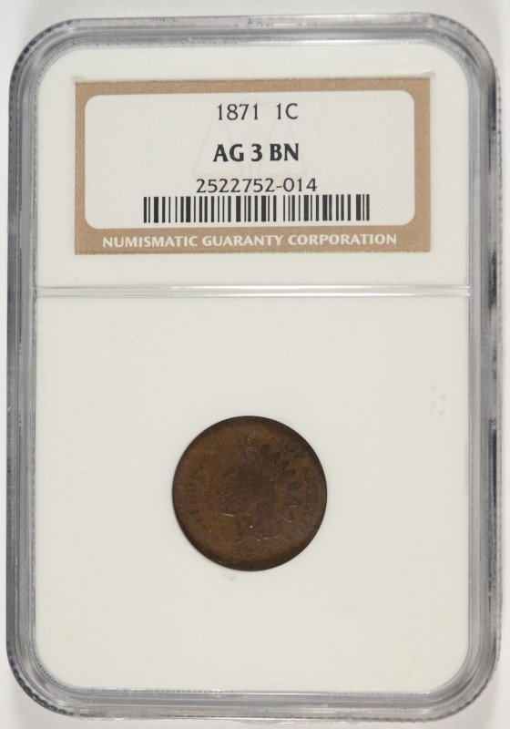 1871 INDIAN HEAD CENT, NGC AG-3 BN WOULD PASS FOR A