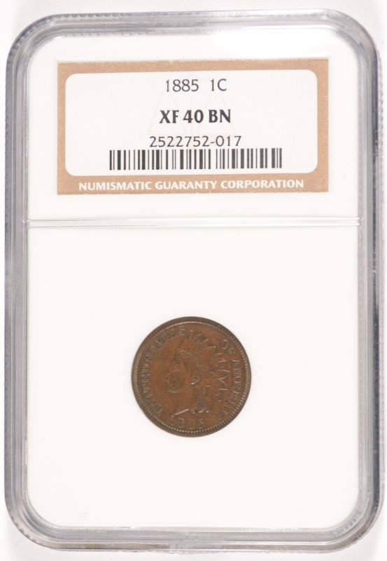 1885 INDIAN HEAD CENT, NGC XF-40 BN