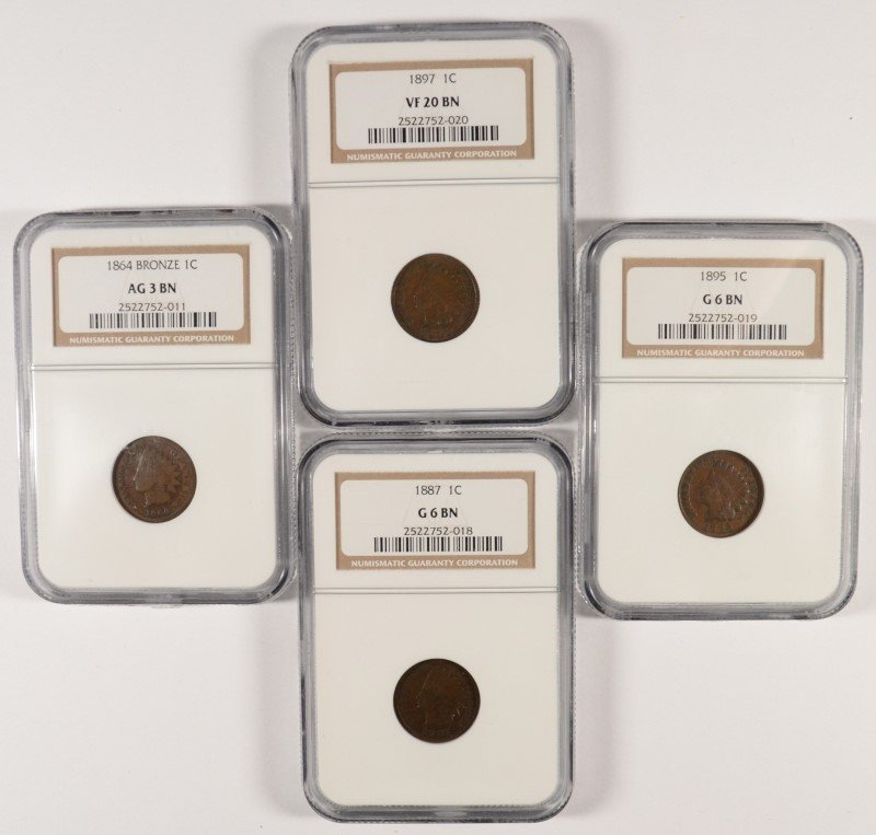 LOT OF ( 4 ) NGC GRADED INDIAN HEAD CENTS