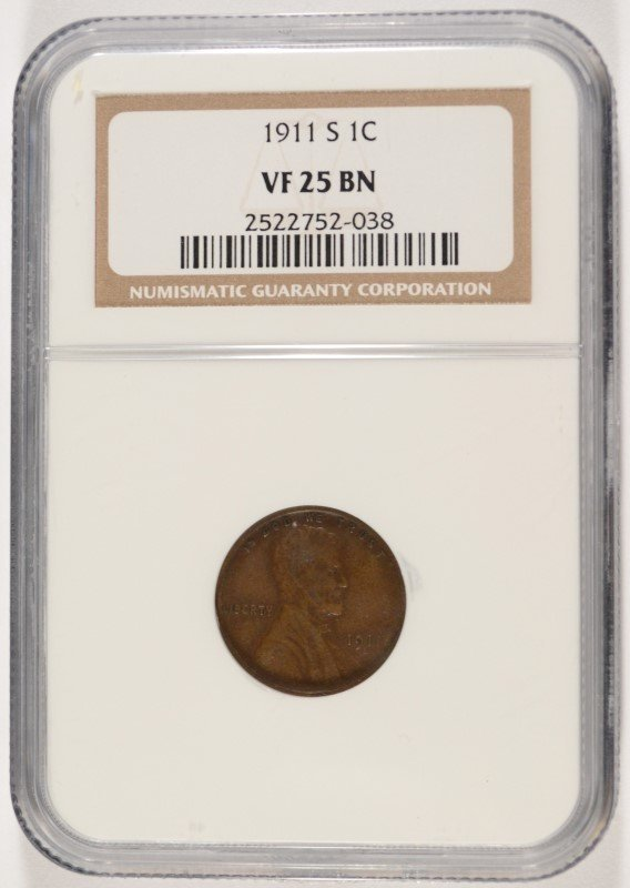 1911-S LINCOLN CENT, NGC VF-25  KEY DATE!