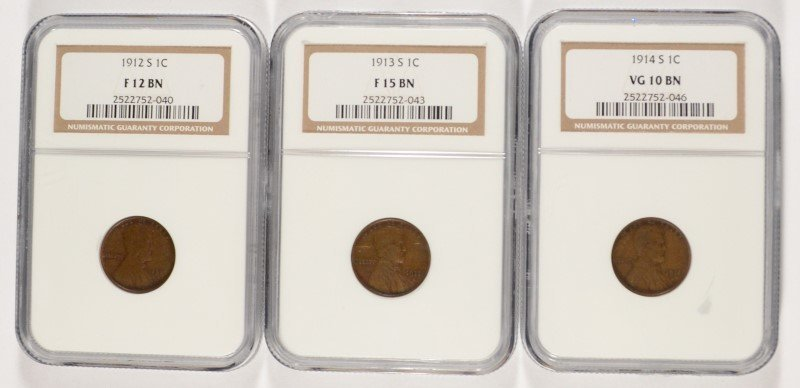 ( 3 ) NGC GRADED LINCOLN CENTS: 1912-S F-12, 1913-S