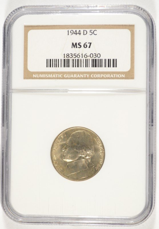 1944-D JEFFERSON NICKEL, NGC MS-67