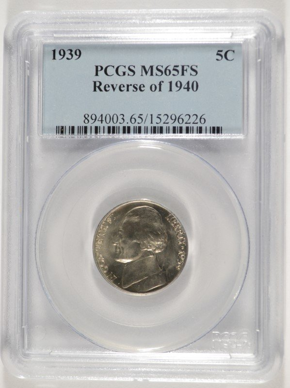 1939 REVERSE OF 1940 JEFFERSON NICKEL, PCGS  MS-65 FULL