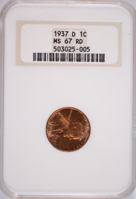 1937-D LINCOLN CENT NGC MS-67 RD OLD HOLDER