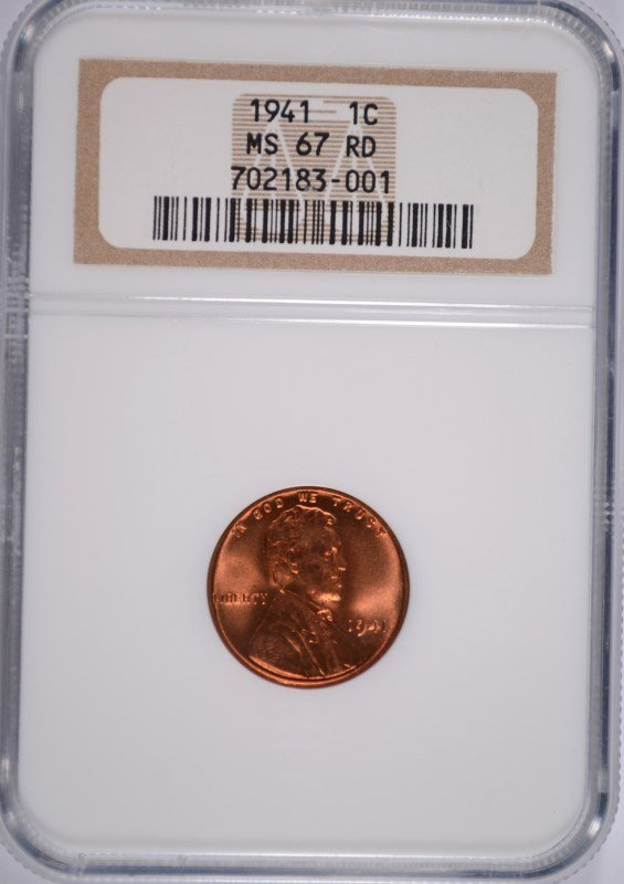 1941 LINCOLN CENT NGC MS-67 RD