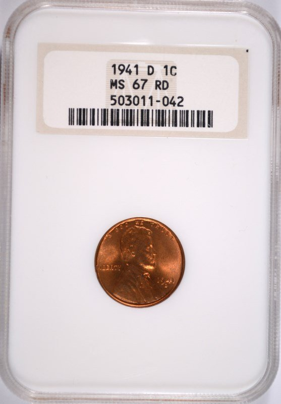 1941-D LINCOLN CENT NGC MS-67 RD