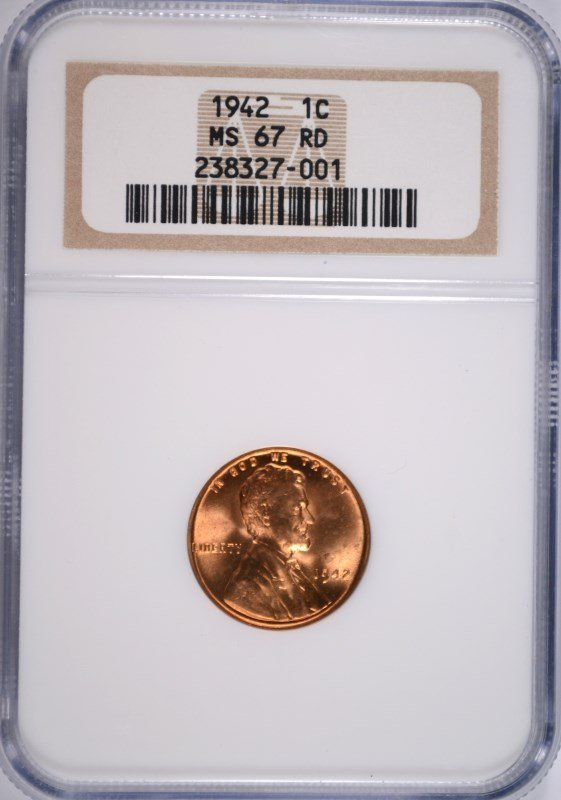 1942 LINCOLN CENT NGC MS-67 RD