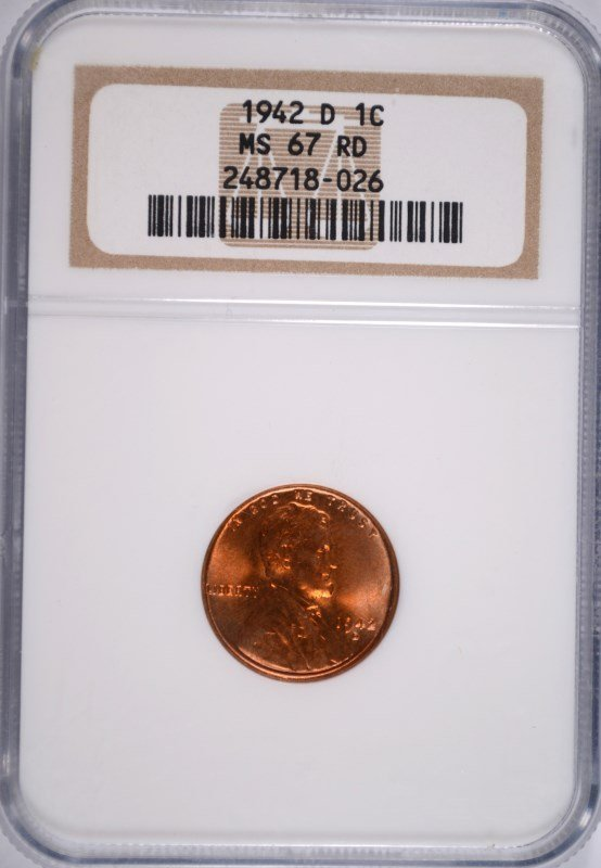 1942-D LINCOLN CENT NGC MS-67 RD