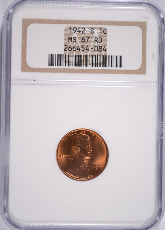 1942-S LINCOLN CENT NGC MS-67 RD