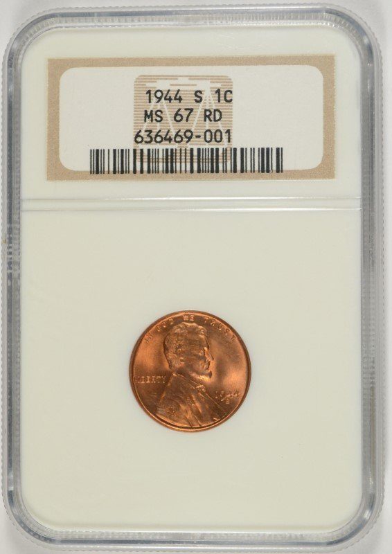 1944-S LINCOLN CENT NGC MS-67 RD