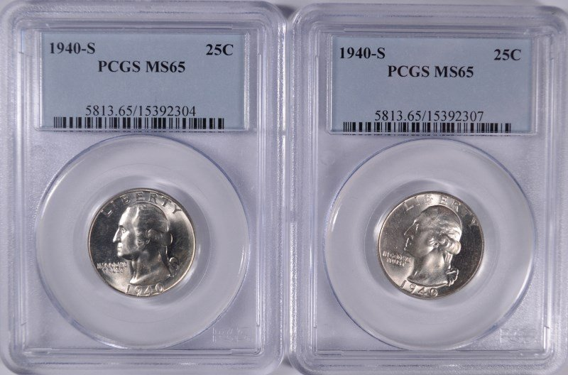 2 1940-S WASHINGTON QUARTERS PCGS MS-65
