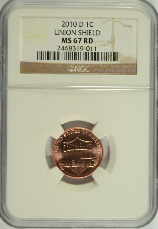 2010-D SHIELD LIINCOLN CENT NGC MS-67 RD