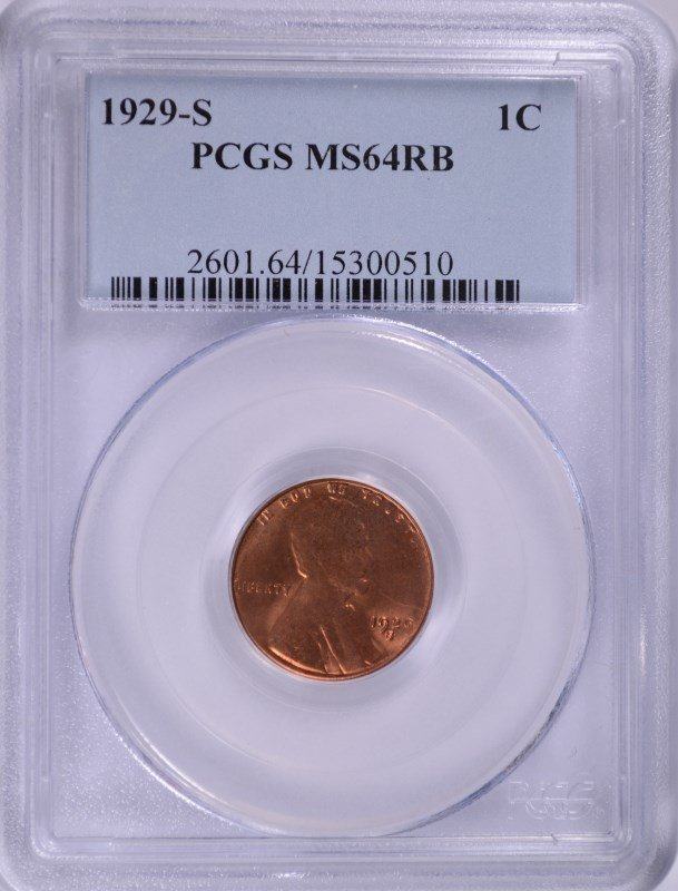 1929-S LINCOLN CENT, PCGS MS-64RB
