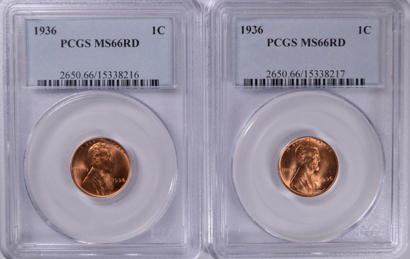( 2 ) 1936 LINCOLN CENTS, PCGS MS-66 RED