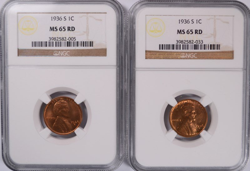 ( 2 ) 1936-S LINCOLN CENTS, NGC MS-65 RED
