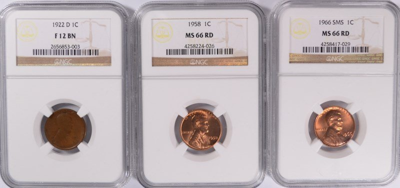 ( 3 ) NGC GRADED LINCOLN CENTS: 1922-D FINE-12 BN, 1958