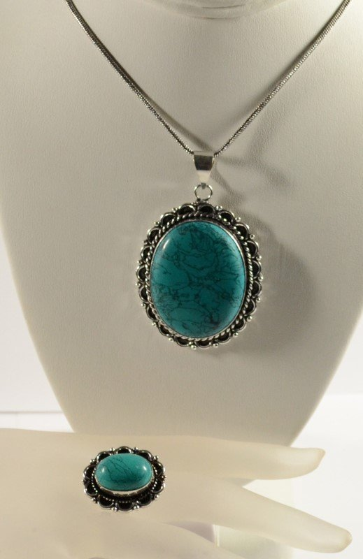 GERMAN SILVER TURQUOISE PENDANT NECKLACE AND RING