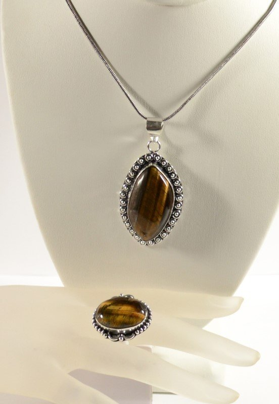 GERMAN SILVER TIGER EYE PENDANT NECKLACE AND RING