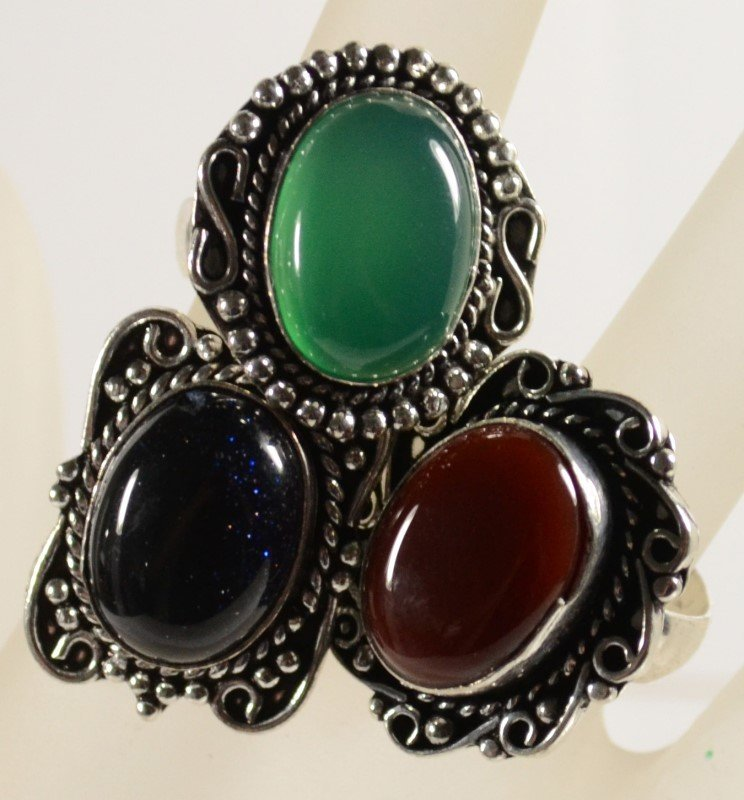 LOT OF 3 GERMAN SILVER RINGS: Green Onyx Size 8, Blue