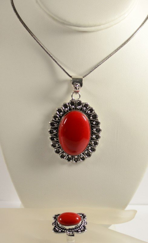 GERMAN SILVER RED CORAL PENDANT NECKLACE AND RING