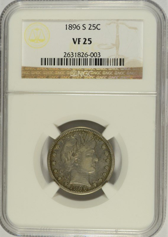 1896-S BARBER QUARTER NGC VF-25 (KEY DATE COIN !!!)