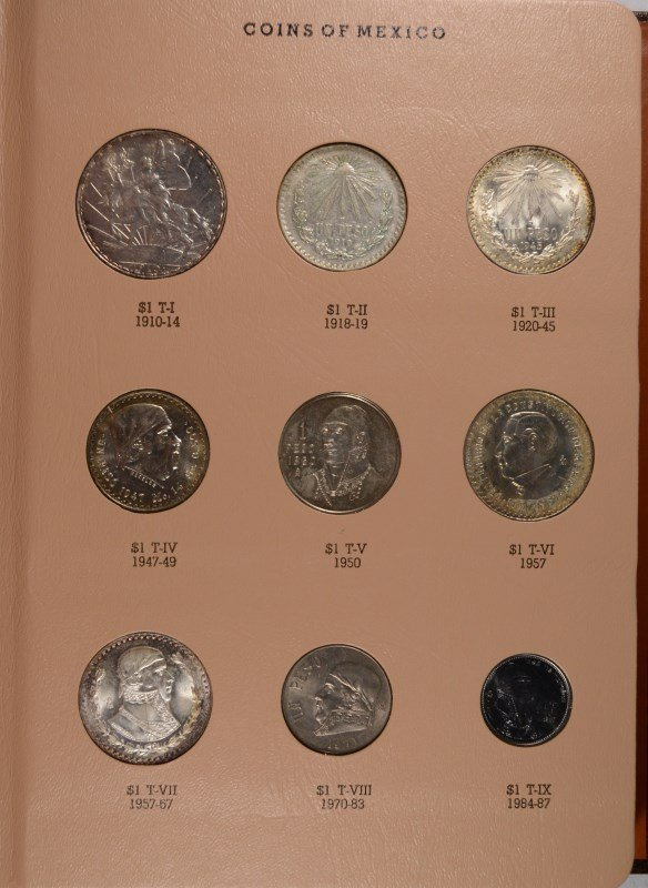 BEAUTIFUL MEXICO TYPE SET PESO COINS IN DANSCO ALBUM, - 2