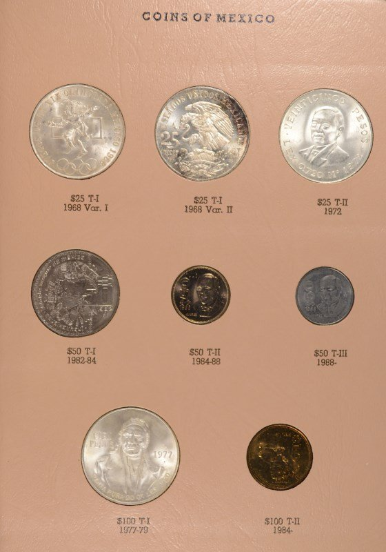 BEAUTIFUL MEXICO TYPE SET PESO COINS IN DANSCO ALBUM, - 5