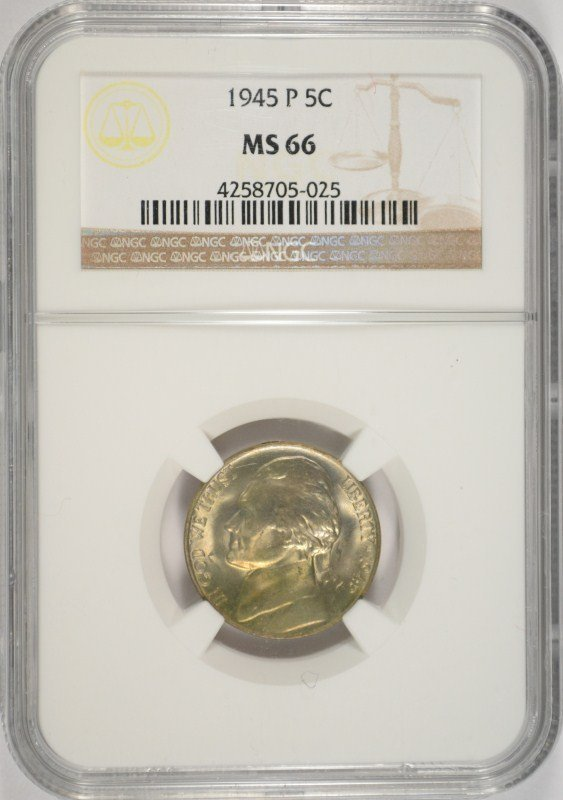 1945-P SILVER JEFFERSON NICKEL, NGC MS-66