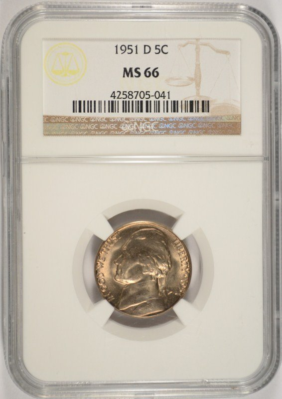 1951-D JEFFERSON NICKEL, NGC MS-66