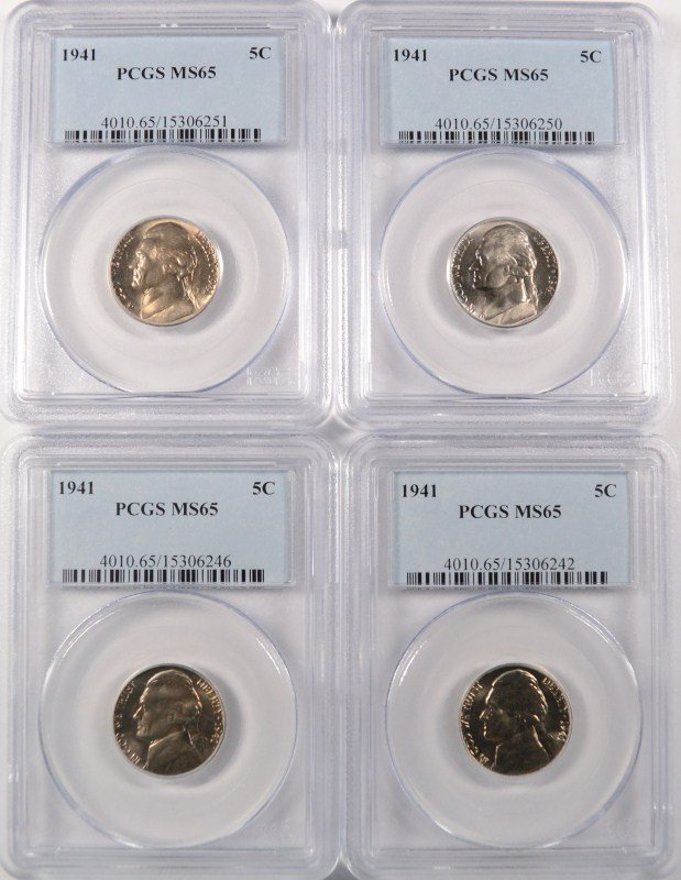 LOT OF ( 4 ) 1941 JEFFERSON NICKELS, PCGS MS-65