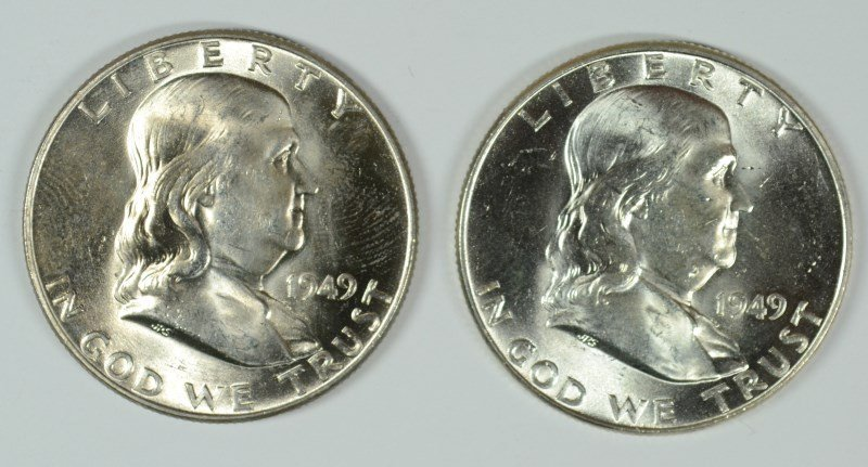 LOT OF ( 2 ) 1949 FRANKLIN HALF DOLLARS,  MS-63++