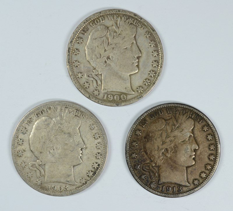 LOT OF ( 3 ) BARBER HALF DOLLARS, 1900, 1903-S, AND